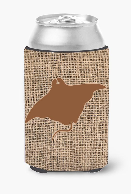 Manta ray Burlap and Brown Can or Bottle Beverage Insulator Hugger by Caroline's Treasures