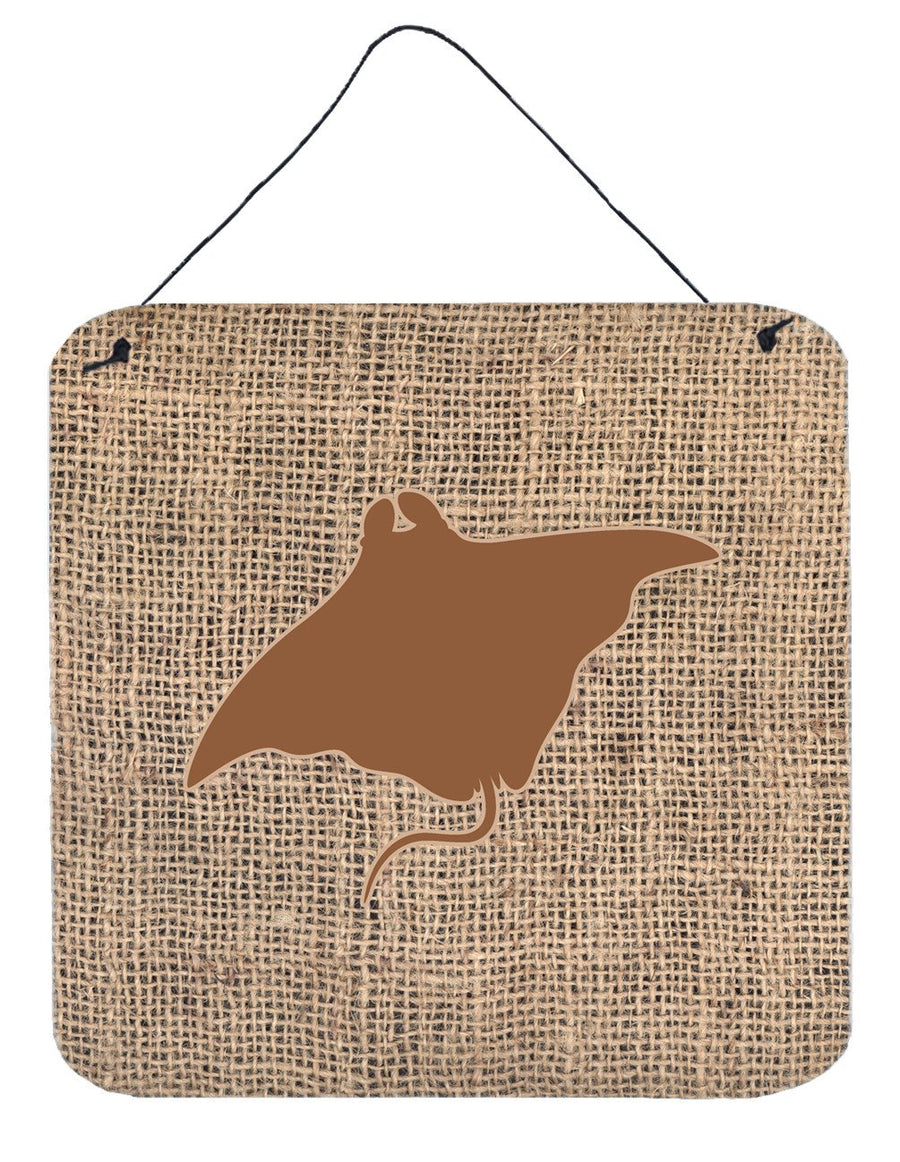 Buy this Manta ray Burlap and Brown Aluminium Metal Wall or Door Hanging Prints BB1014