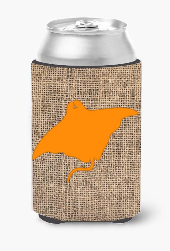 Manta ray Burlap and Orange Can or Bottle Beverage Insulator Hugger BB1014 by Caroline's Treasures