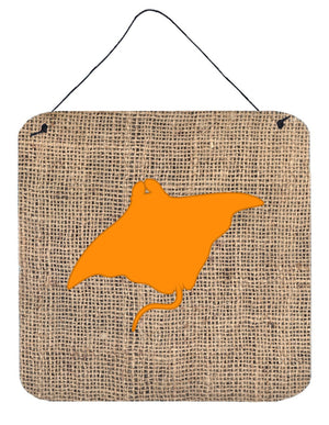 Buy this Manta ray Burlap and Orange Aluminium Metal Wall or Door Hanging Prints BB1014