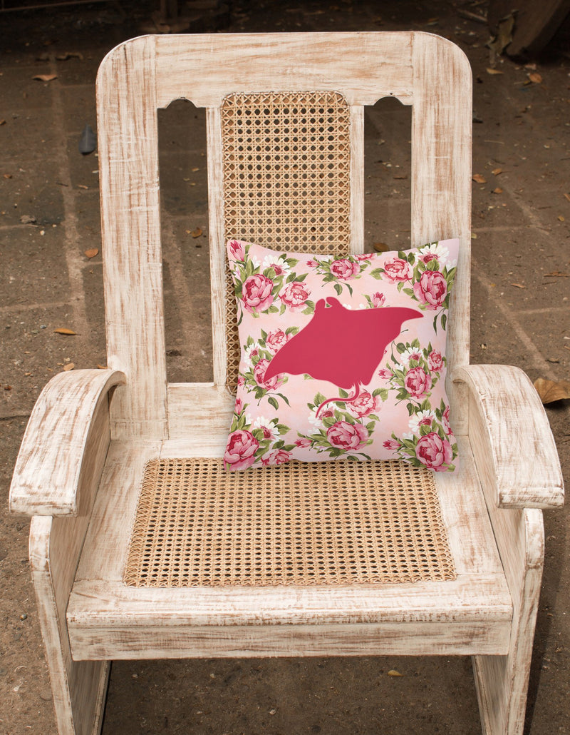 Buy this Manta ray Shabby Chic Pink Roses  Fabric Decorative Pillow BB1014-RS-PK-PW1414