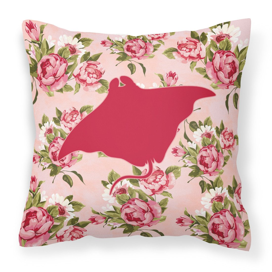 Manta ray Shabby Chic Pink Roses  Fabric Decorative Pillow BB1014-RS-PK-PW1414 by Caroline's Treasures