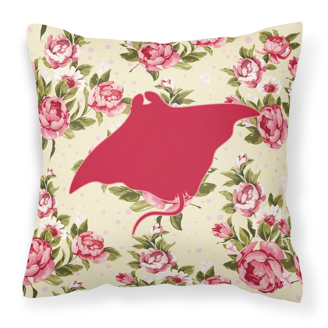 Buy this Manta ray Shabby Chic Yellow Roses  Fabric Decorative Pillow BB1014-RS-YW-PW1414