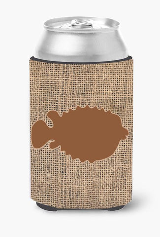 Buy this Fish - Blowfish Burlap and Brown Can or Bottle Beverage Insulator Hugger