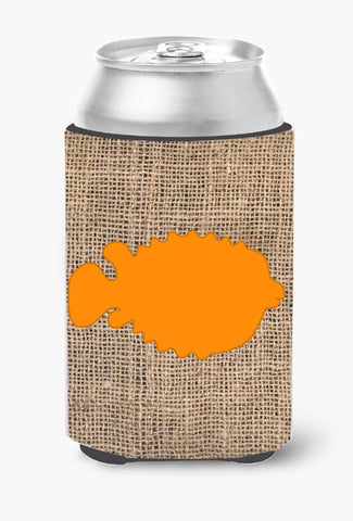 Buy this Fish - Blowfish Burlap and Orange Can or Bottle Beverage Insulator Hugger BB1016