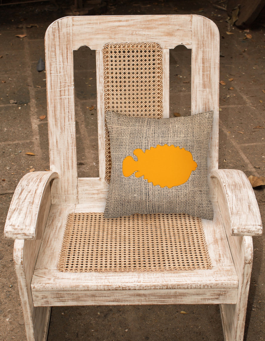Buy this Fish - Blowfish Burlap and Orange   Canvas Fabric Decorative Pillow BB1016