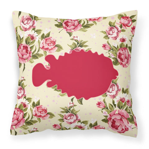 Buy this Fish - Blowfish Shabby Chic Yellow Roses  Fabric Decorative Pillow BB1016-RS-YW-PW1414