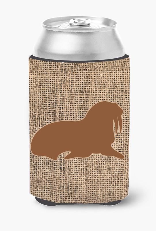 Walrus Burlap and Brown Can or Bottle Beverage Insulator Hugger by Caroline's Treasures