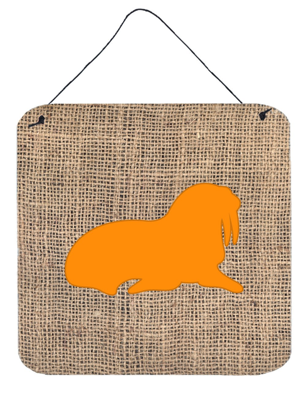 Walrus Burlap and Orange Aluminium Metal Wall or Door Hanging Prints BB1017 by Caroline's Treasures