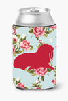 Walrus Shabby Chic Blue Roses Can or Bottle Beverage Insulator Hugger BB1017 by Caroline's Treasures