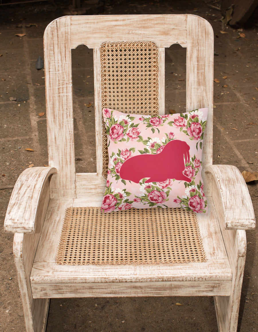 Buy this Walrus Shabby Chic Pink Roses  Fabric Decorative Pillow BB1017-RS-PK-PW1414