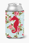 Sea Horse Shabby Chic Blue Roses Can or Bottle Beverage Insulator Hugger BB1018 by Caroline's Treasures