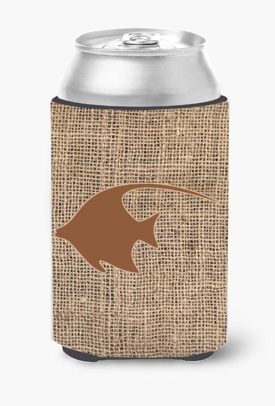 Buy this Fish - Angel Fish Burlap and Brown Can or Bottle Beverage Insulator Hugger