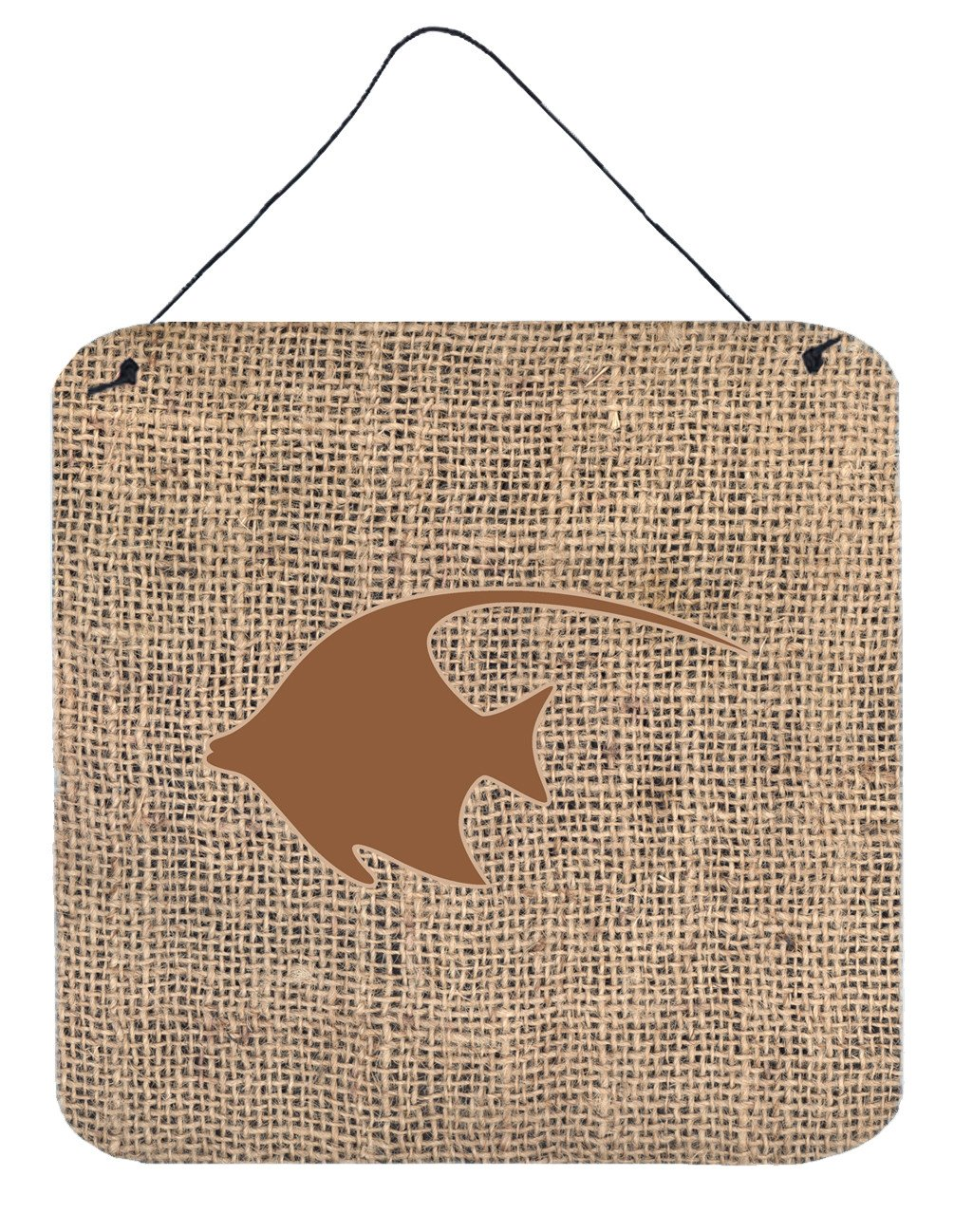 Fish - Angel Fish Burlap and Brown Wall or Door Hanging Prints BB1019 by Caroline's Treasures