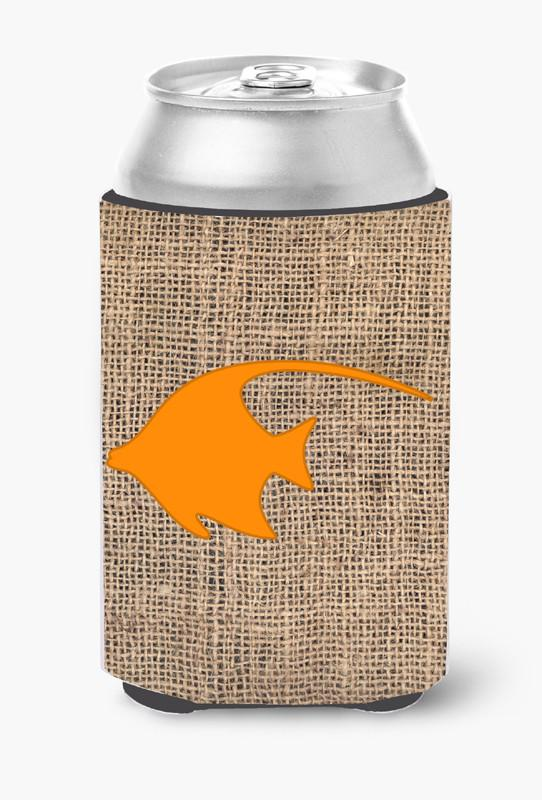 Buy this Fish - Angel Fish Burlap and Orange Can or Bottle Beverage Insulator Hugger BB1019