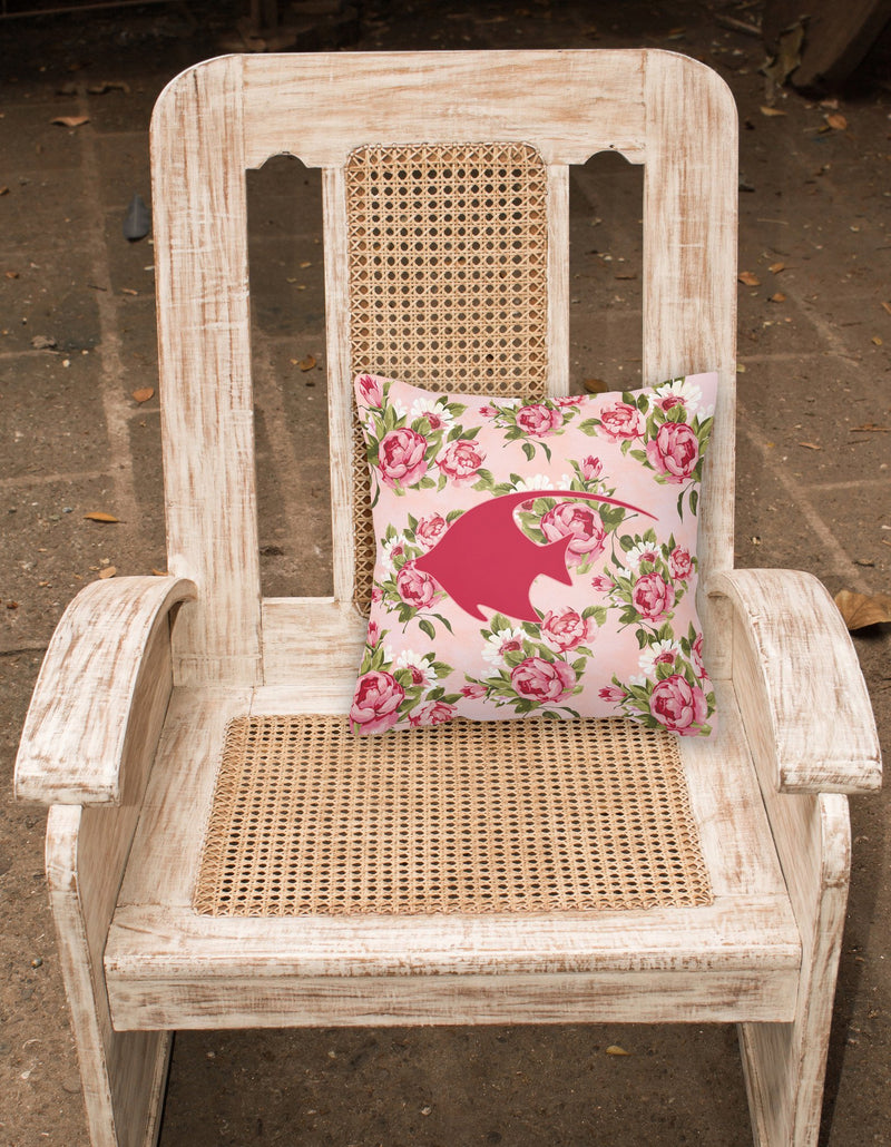 Buy this Fish - Angel Fish Shabby Chic Pink Roses  Fabric Decorative Pillow BB1019-RS-PK-PW1414
