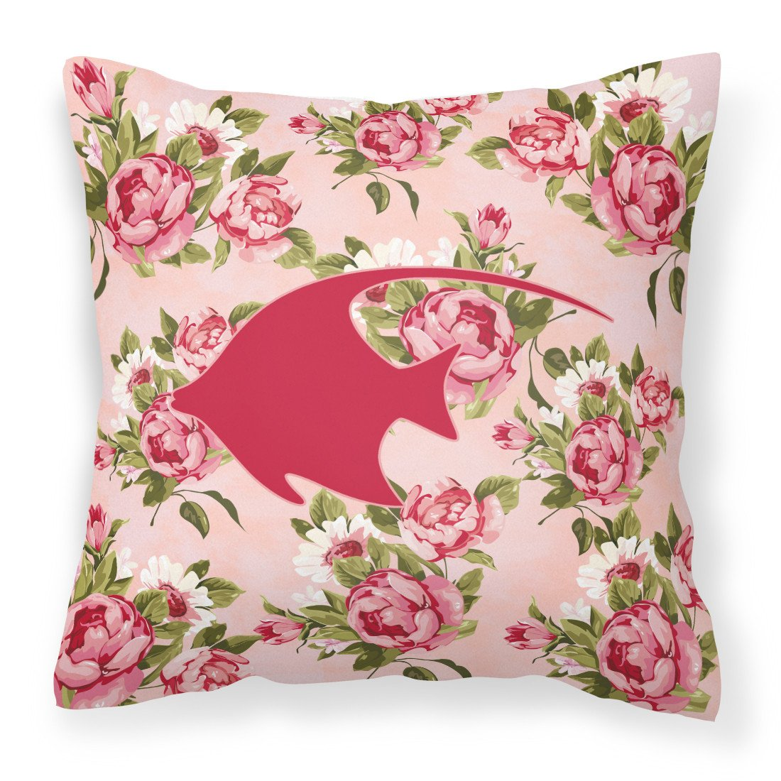 Fish - Angel Fish Shabby Chic Pink Roses  Fabric Decorative Pillow BB1019-RS-PK-PW1414 by Caroline's Treasures