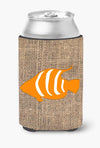 Fish Burlap and Orange Can or Bottle Beverage Insulator Hugger BB1020 by Caroline's Treasures