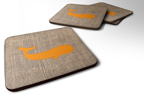 Buy this Set of 4 Whale Burlap and Orange Foam Coasters