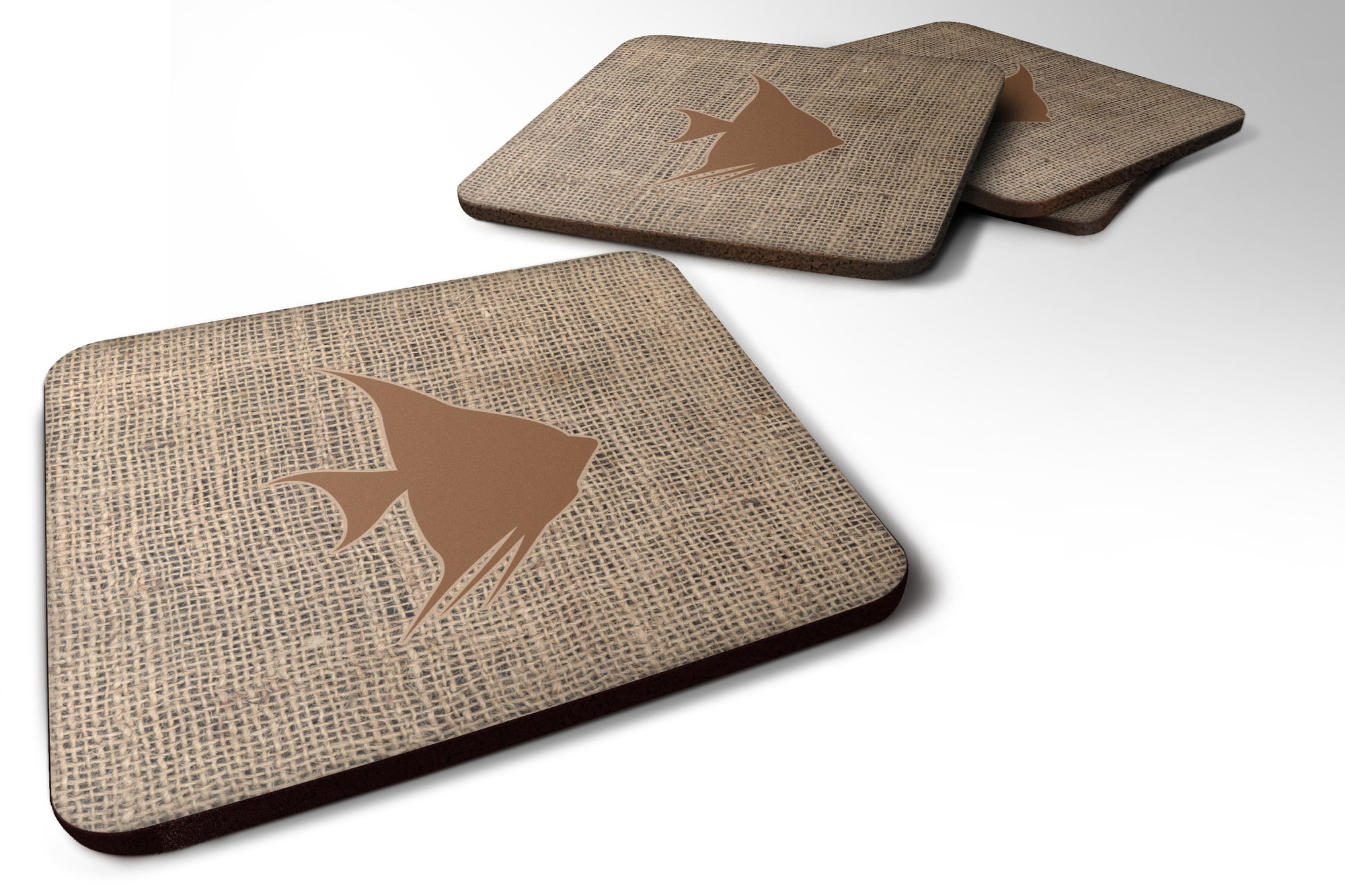 Buy this Set of 4 Fish - Angel Fish Burlap and Brown Foam Coasters