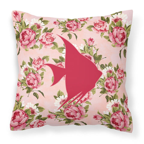 Buy this Fish - Angel Fish Shabby Chic Pink Roses  Fabric Decorative Pillow BB1022-RS-PK-PW1414