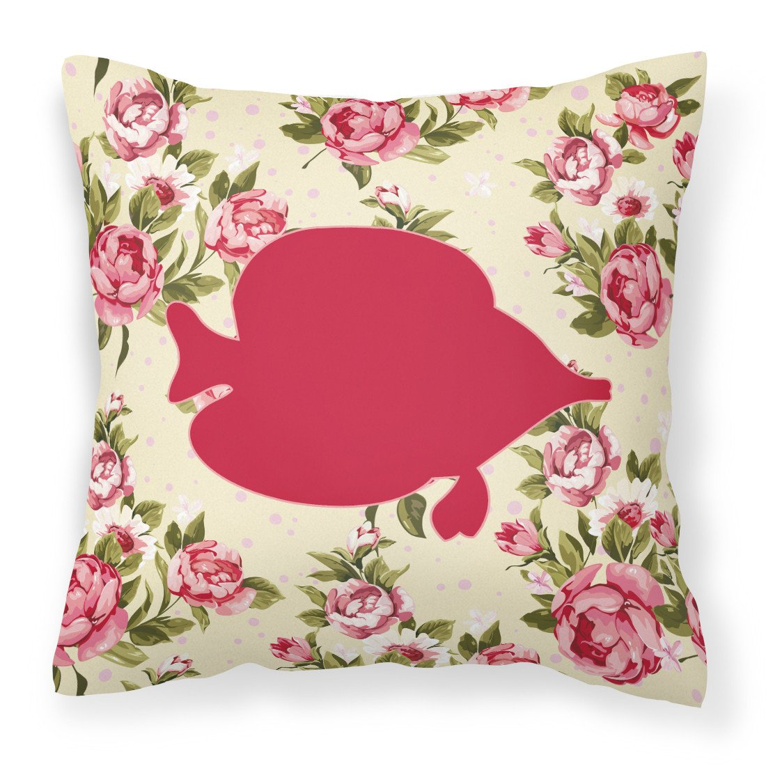Buy this Fish - Tang Fish Shabby Chic Yellow Roses  Fabric Decorative Pillow BB1023-RS-YW-PW1414