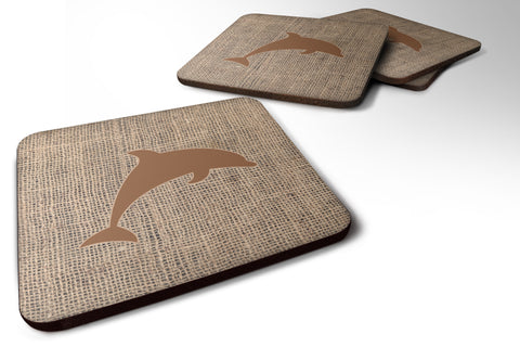 Buy this Set of 4 Dolphin Burlap and Brown Foam Coasters