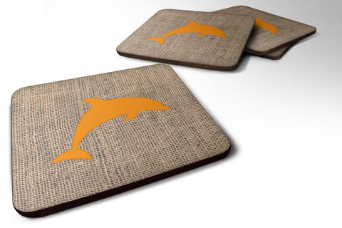 Buy this Set of 4 Dolphin Burlap and Orange Foam Coasters
