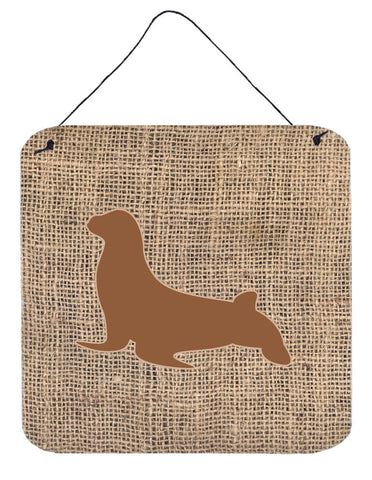 Buy this Seal Burlap and Brown Aluminium Metal Wall or Door Hanging Prints BB1027