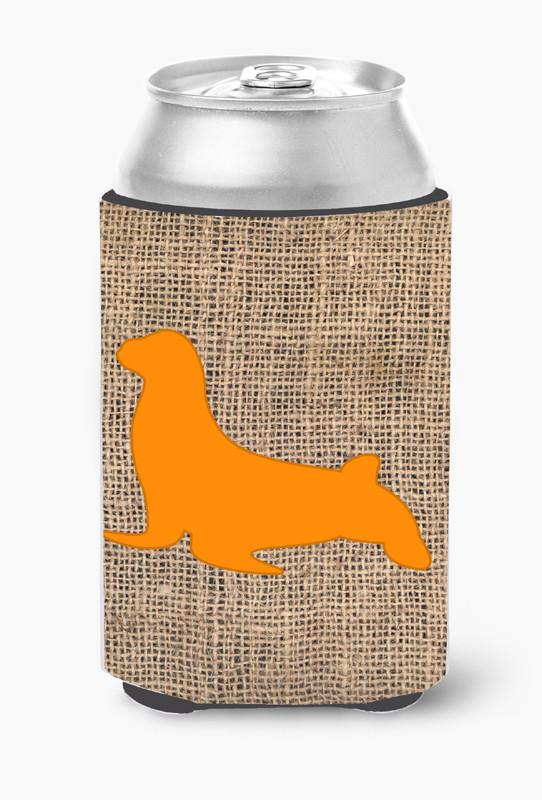 Buy this Seal Burlap and Orange Can or Bottle Beverage Insulator Hugger BB1027