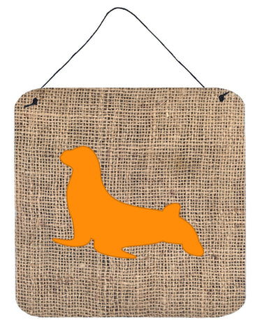 Buy this Seal Burlap and Orange Aluminium Metal Wall or Door Hanging Prints BB1027