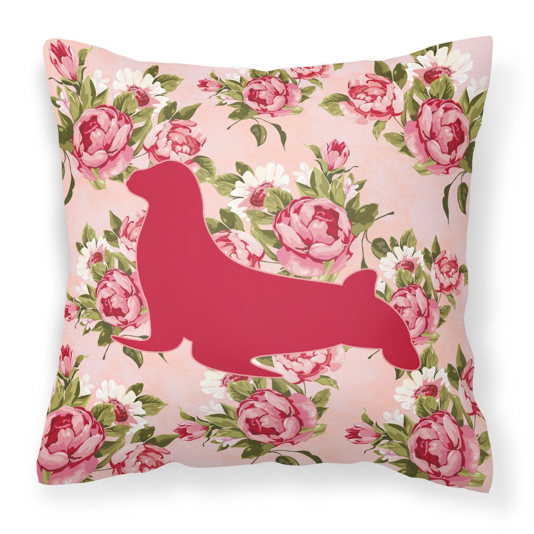Seal Shabby Chic Pink Roses  Fabric Decorative Pillow BB1027-RS-PK-PW1414 by Caroline's Treasures