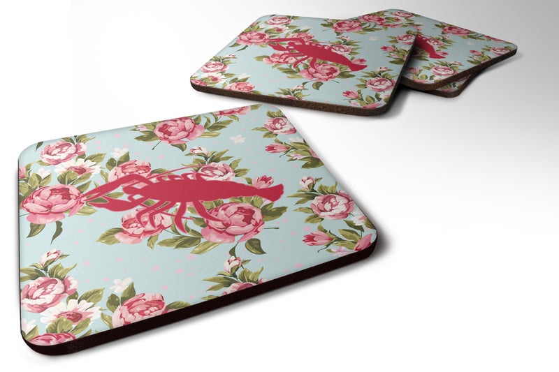 Buy this Set of 4 Lobster Shabby Chic Blue Roses Foam Coasters