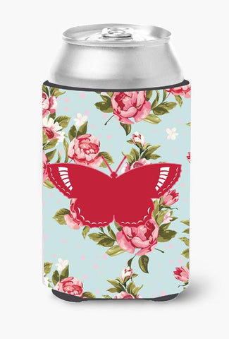 Buy this Butterfly Shabby Chic Blue Roses Can or Bottle Beverage Insulator Hugger BB1029