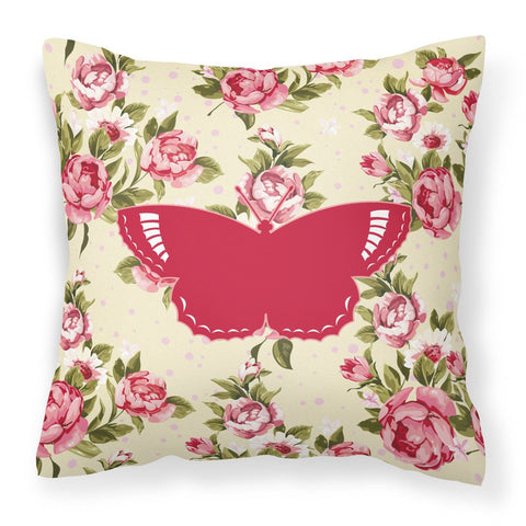 Buy this Butterfly Shabby Chic Yellow Roses  Fabric Decorative Pillow BB1029-RS-YW-PW1414