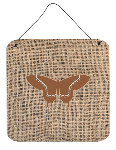 Buy this Butterfly Burlap and Brown Aluminium Metal Wall or Door Hanging Prints BB1030