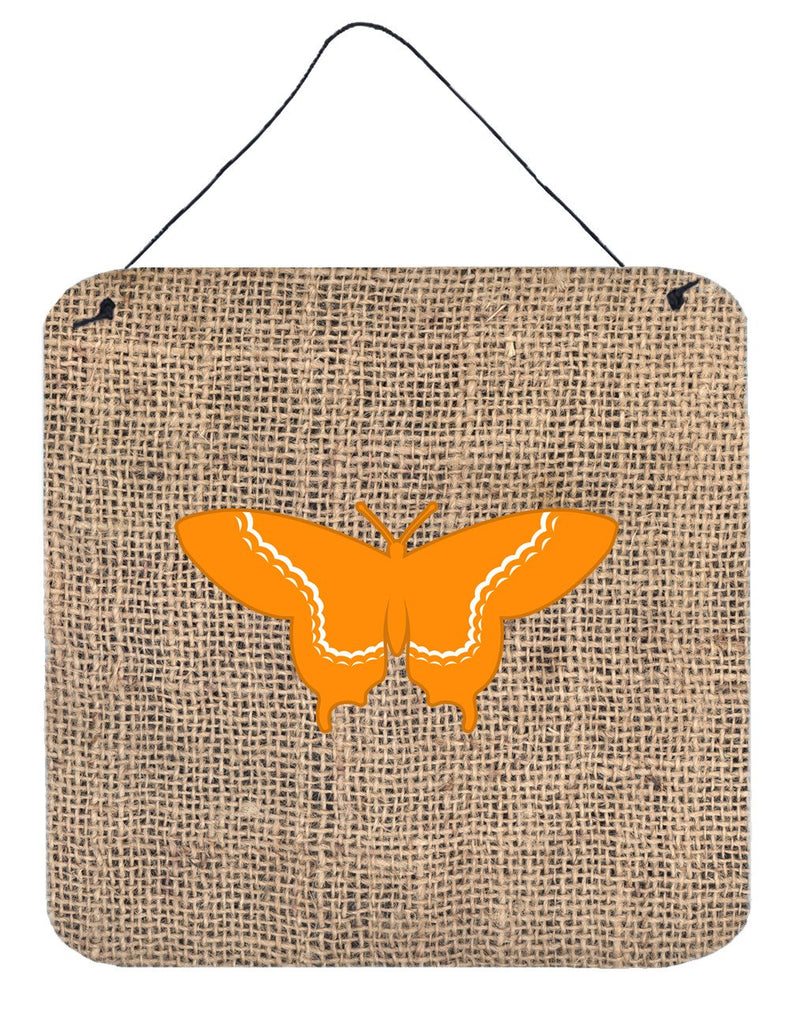 Buy this Butterfly Burlap and Orange Aluminium Metal Wall or Door Hanging Prints BB1030