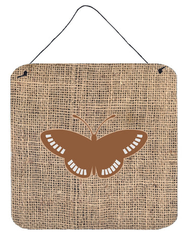 Buy this Butterfly Burlap and Brown Aluminium Metal Wall or Door Hanging Prints BB1031