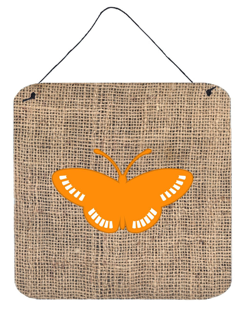 Buy this Butterfly Burlap and Orange Aluminium Metal Wall or Door Hanging Prints BB1031