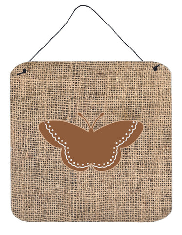 Buy this Butterfly Burlap and Brown Aluminium Metal Wall or Door Hanging Prints BB1032