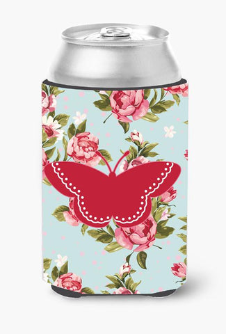 Buy this Butterfly Shabby Chic Blue Roses Can or Bottle Beverage Insulator Hugger BB1032
