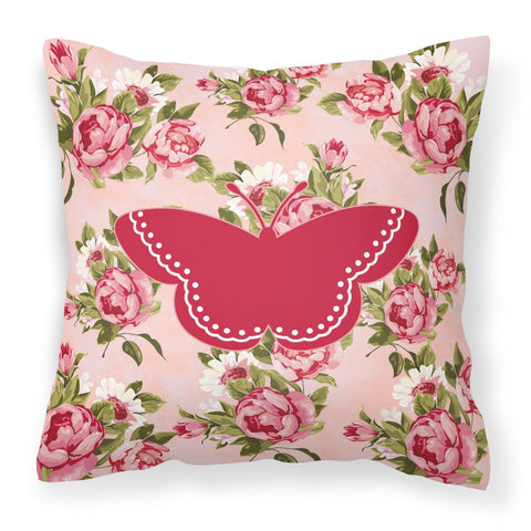 Buy this Butterfly Shabby Chic Pink Roses  Fabric Decorative Pillow BB1032-RS-PK-PW1414