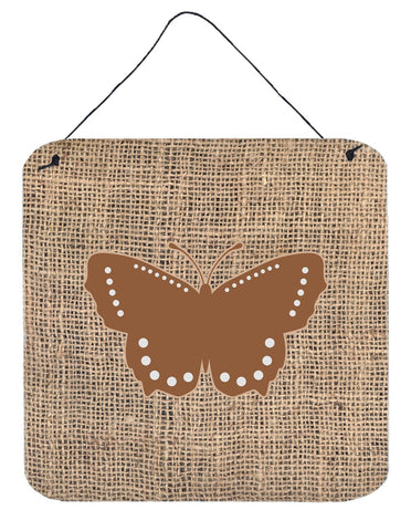 Buy this Butterfly Burlap and Brown Aluminium Metal Wall or Door Hanging Prints BB1033