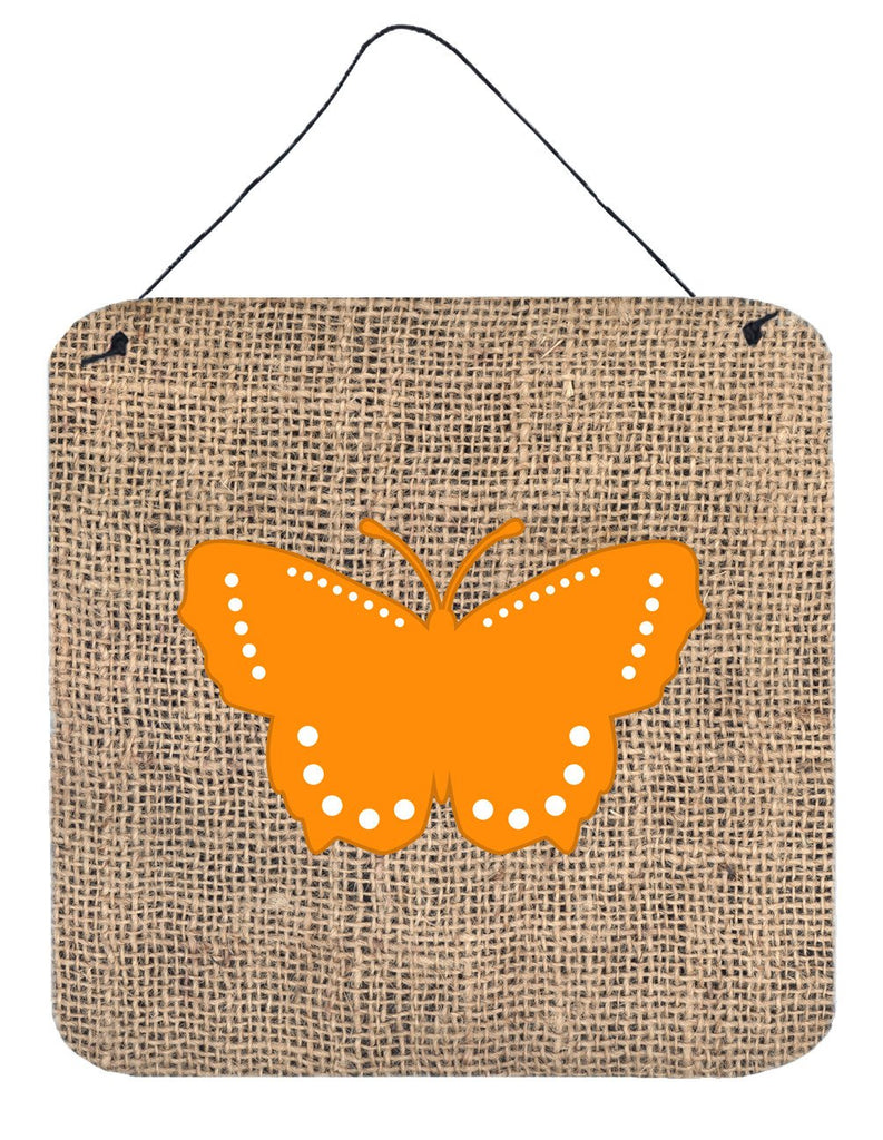 Buy this Butterfly Burlap and Orange Aluminium Metal Wall or Door Hanging Prints BB1033