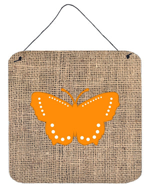 Butterfly Burlap and Orange Aluminium Metal Wall or Door Hanging Prints BB1033 - the-store.com