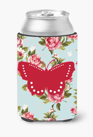 Buy this Butterfly Shabby Chic Blue Roses Can or Bottle Beverage Insulator Hugger BB1033