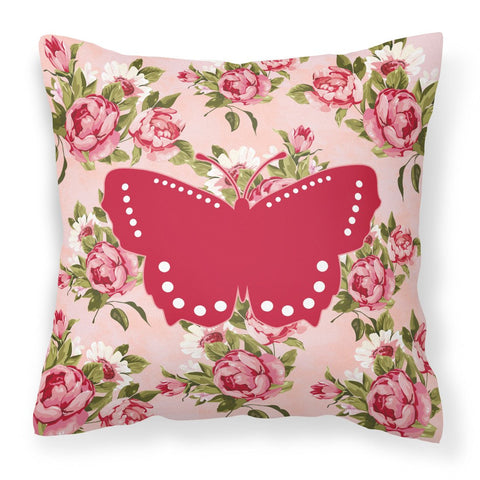 Buy this Butterfly Shabby Chic Pink Roses  Fabric Decorative Pillow BB1033-RS-PK-PW1414