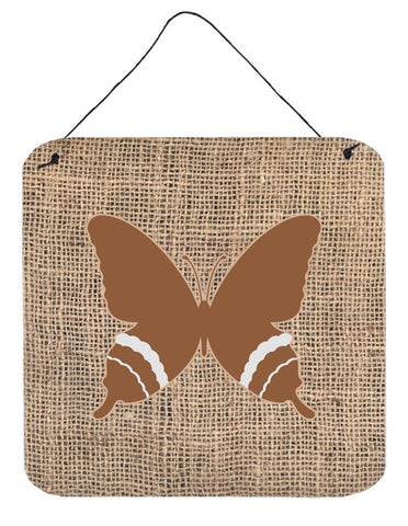Buy this Butterfly Burlap and Brown Aluminium Metal Wall or Door Hanging Prints BB1034