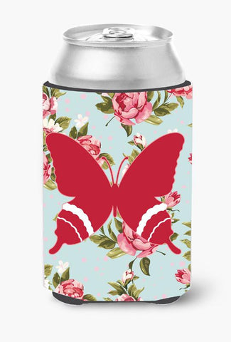 Buy this Butterfly Shabby Chic Blue Roses Can or Bottle Beverage Insulator Hugger BB1034