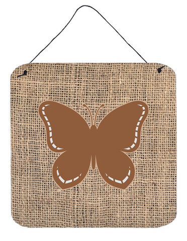Buy this Butterfly Burlap and Brown Aluminium Metal Wall or Door Hanging Prints BB1035